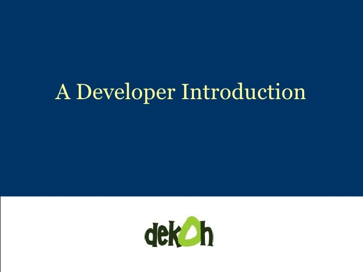 A Developer Introduction