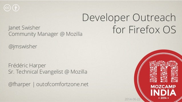 Developer Outreach for Firefox OS - Mozcamp India - 2014-06-22