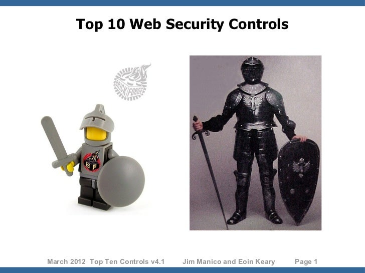 Top 10 Web Security ControlsMarch 2012 Top Ten Controls v4.1   Jim Manico and Eoin Keary   Page 1