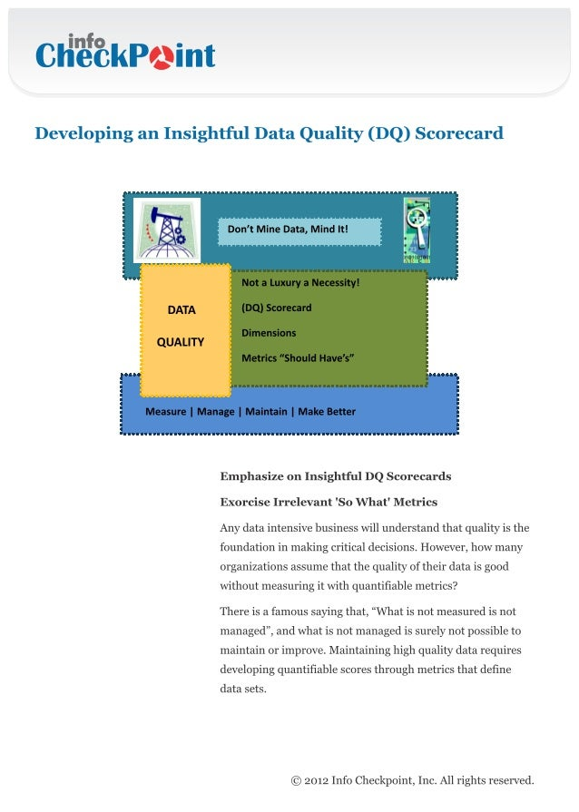 Develop a Data Quality Scorecard