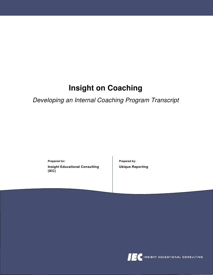 Developing An Internal Coaching Program Transcript