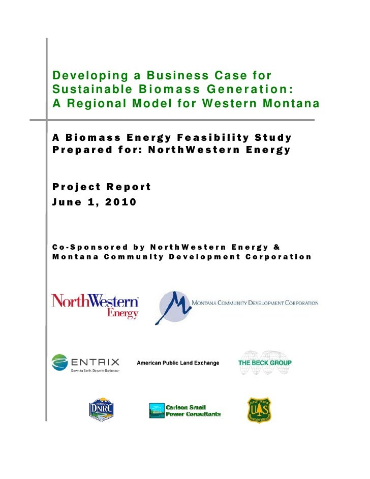 Developing a business case for sustainable biomass generation   a regional model for western montana