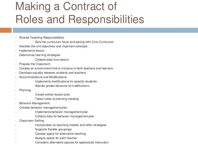 developing a contract of roles and responsibilities for co