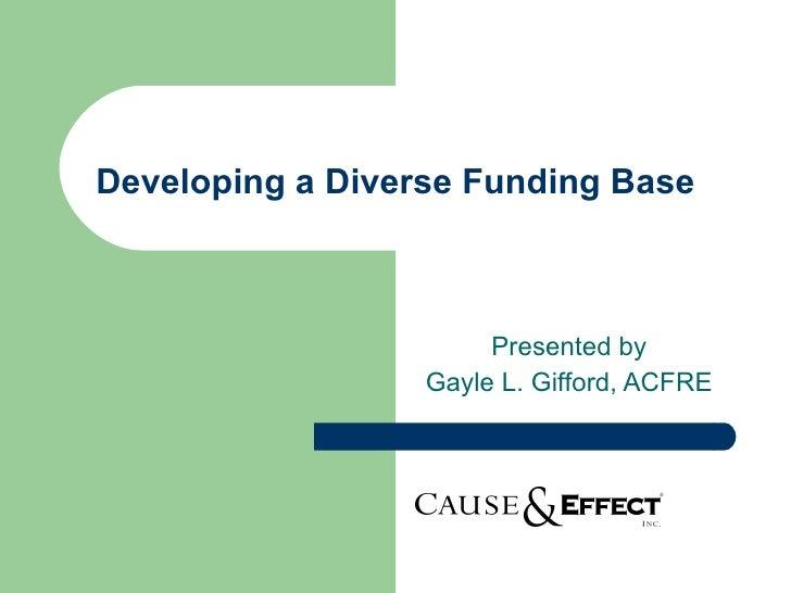 Developing a diverse funding base