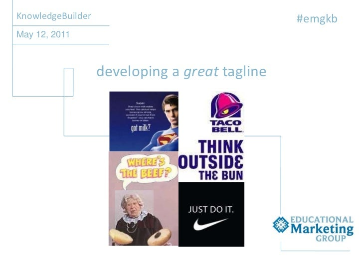 EMG Academy KnowledgeBuilder - Developing a Great Tagline