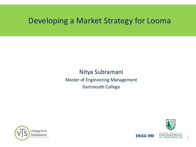 Developing a Market Strategy for LoomaNitya SubramaniMaster of Engineering ManagementDartmouth CollegeENGG 390 1