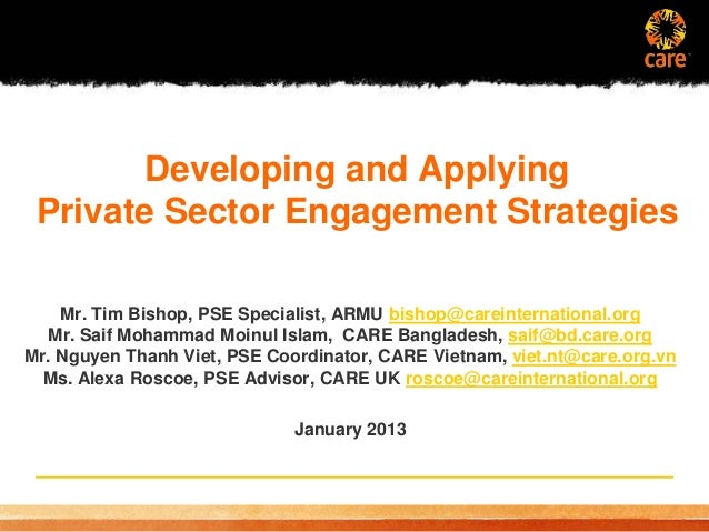 Developing and Applying Private Sector Engagement Strategies - January 2013 webinar