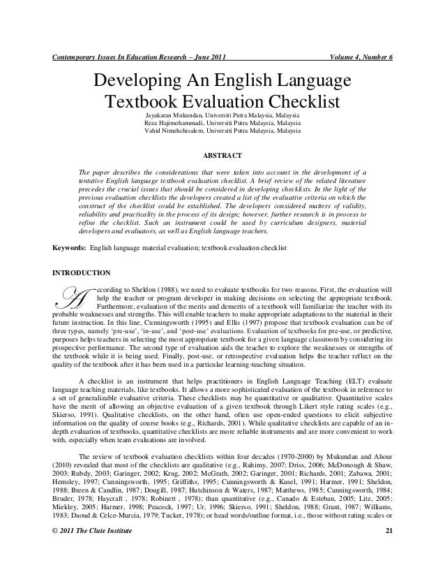 Contemporary Issues In Education Research – June 2011  Volume 4, Number 6  Developing An English Language Textbook Evaluat...