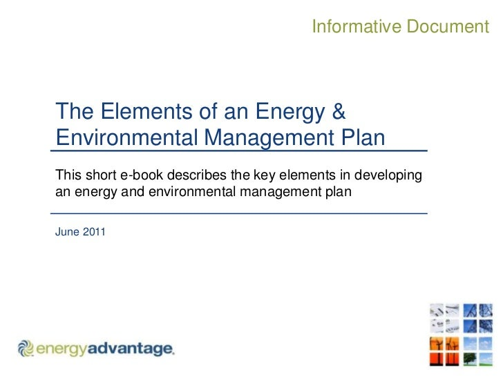 The Elements of an Energy & Environmental Management Plan