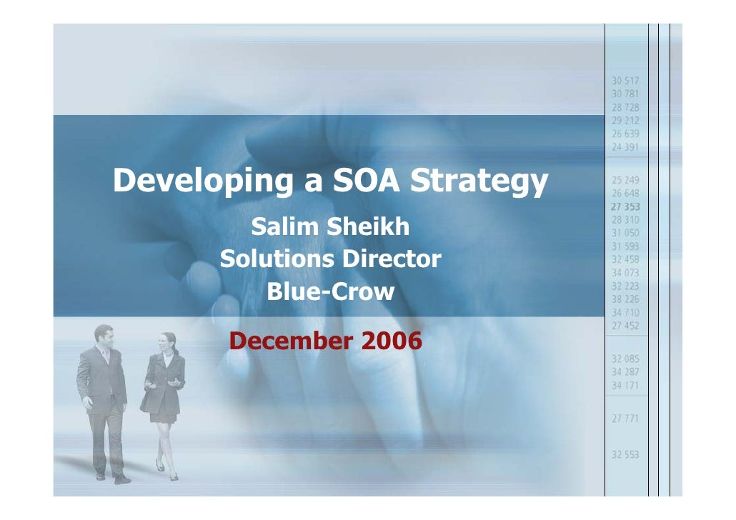 Developing a SOA Strategy         Salim Sheikh       Solutions Director           Blue-Crow        December 2006