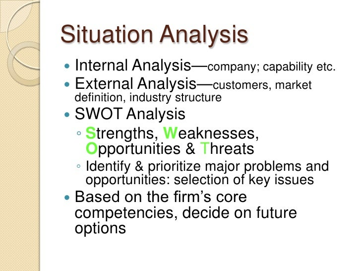 Write situation analysis business plan