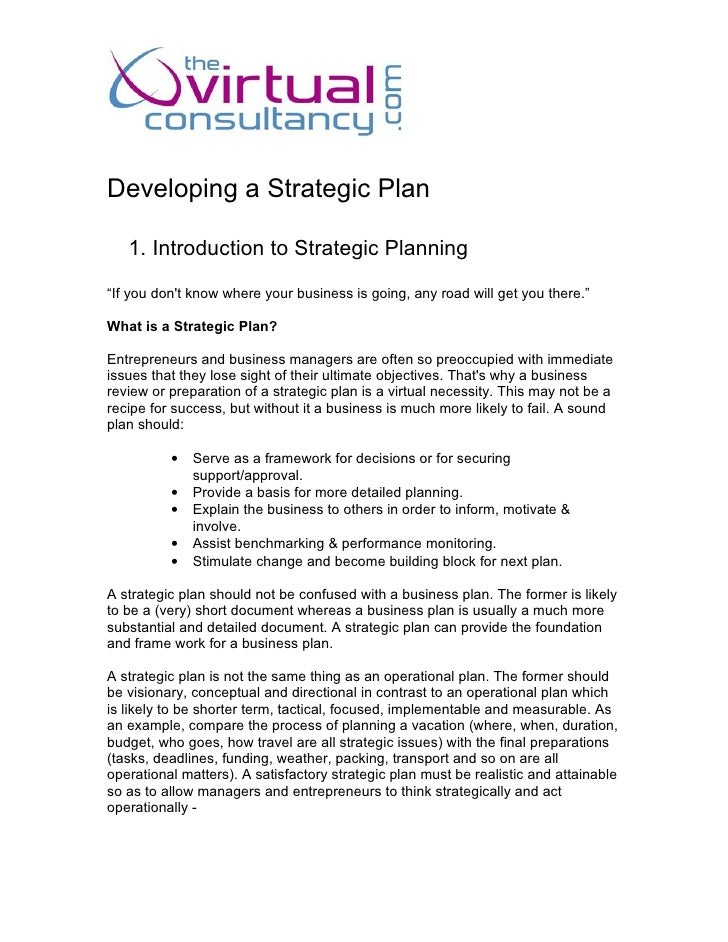 "Developing a Strategic Plan     1. Introduction to Strategic Planning ""If you don't know where your business is going, any..."