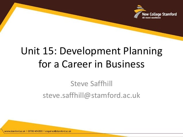 Development Planning For A Career In Business