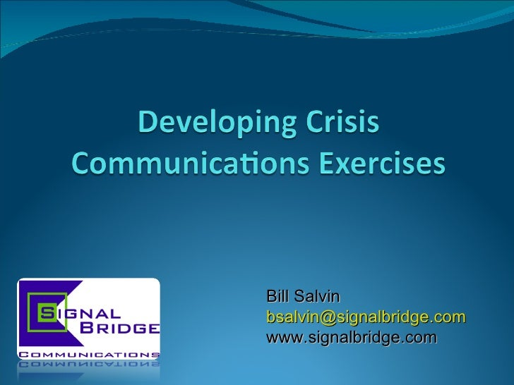 Developing Crisis Communications Exercises
