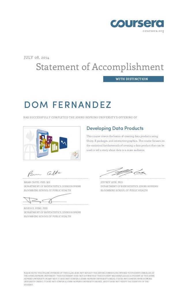 coursera.org Statement of Accomplishment WITH DISTINCTION JULY 08, 2014 DOM FERNANDEZ HAS SUCCESSFULLY COMPLETED THE JOHNS...