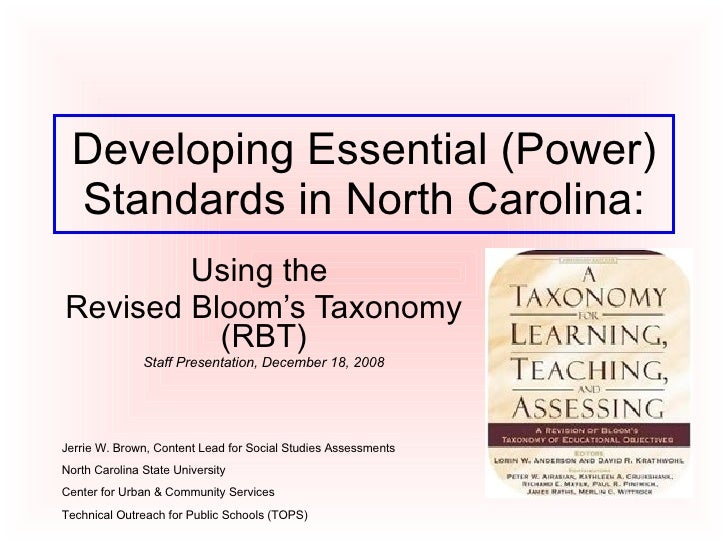 Developing Essential (Power) Standards in North Carolina: Using the  Revised Bloom's Taxonomy (RBT) Staff Presentation, De...