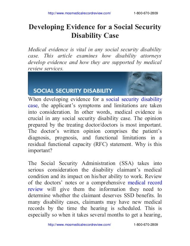Developing evidence for a social security disability case