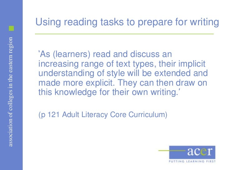 Using reading tasks to prepare for writingassociation of colleges in the eastern region                                   ...