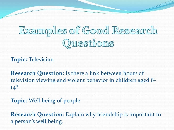 developing a research question thesis