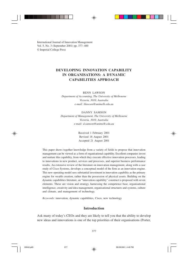 International Journal of Innovation Management            Vol. 5, No. 3 (September 2001) pp. 377–400            © Imperial...
