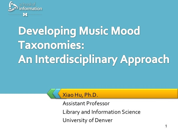 Xiao Hu, Ph.D.            Assistant Professor            Library and Information Science            University of Denver1/...