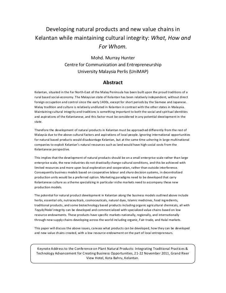 Developing natural products and new value chains in kelantan while maintaining cultural integrity:  What, How and For Whom
