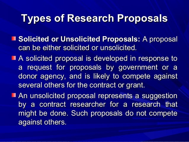 Stages of research proposal