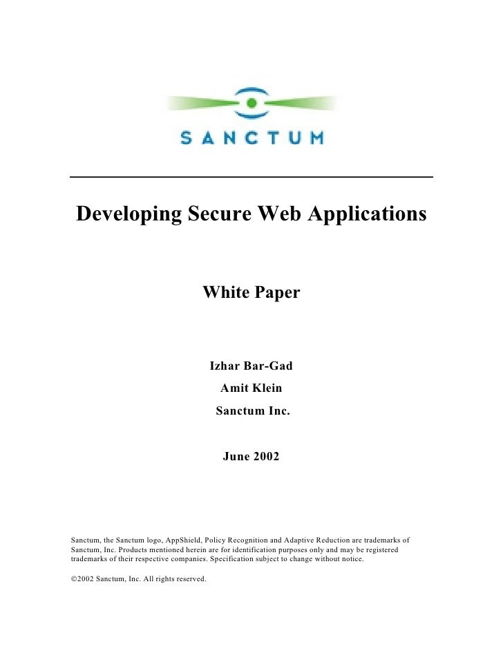 Developing Secure Web Applications                                         White Paper                                    ...