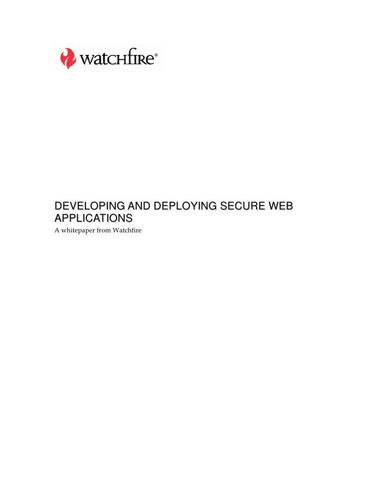Developingsecurewebappswatchfire