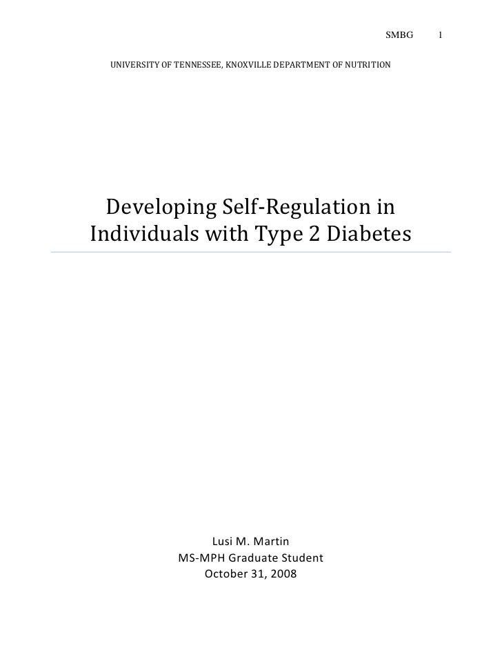 Developing Self Regulation In Individuals With Type 2 Diabetes Proposal