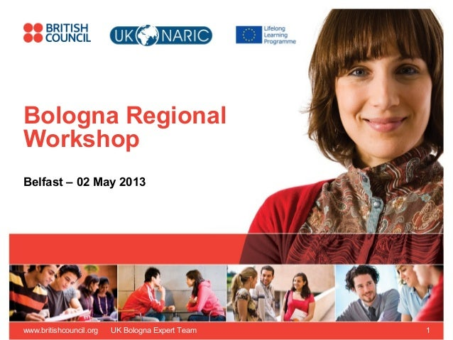 www.britishcouncil.org UK Bologna Expert Team 1 Bologna Regional Workshop Belfast – 02 May 2013