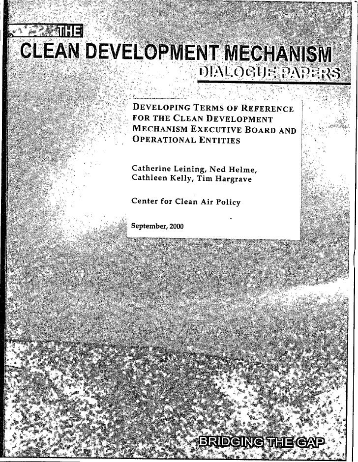 Center for Clean Air Policy- Developing Terms Of Reference For Clean Development