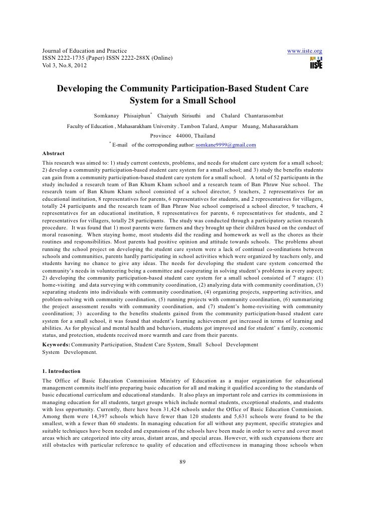 Developing the community participation based student care system for a small school
