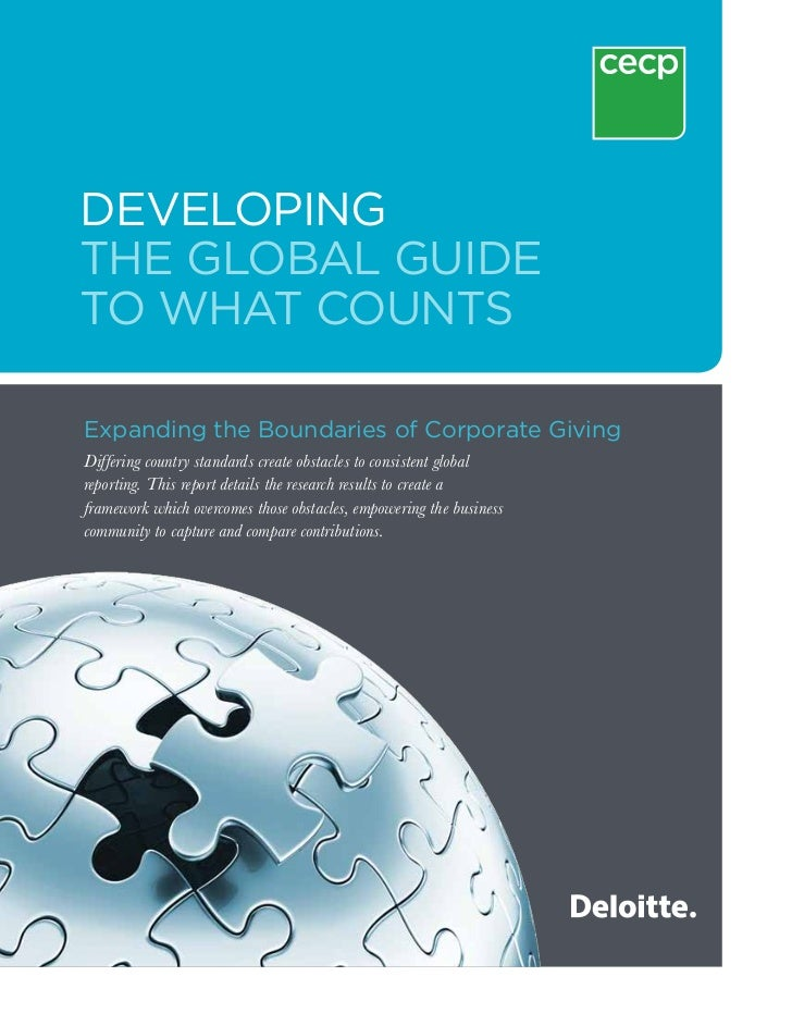 DevelopingThe Global Guideto What CountsExpanding the Boundaries of Corporate GivingDiffering country standards create obs...