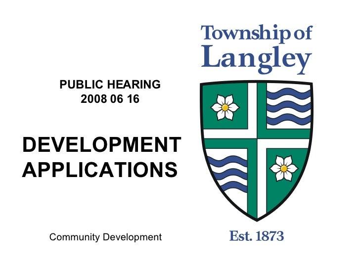 Development Applications 2008 06 16
