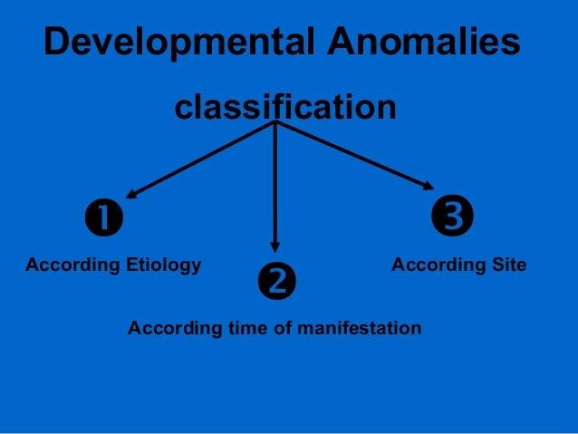Developmental Anomalies classification     According Etiology    According Site  According time of manifestation