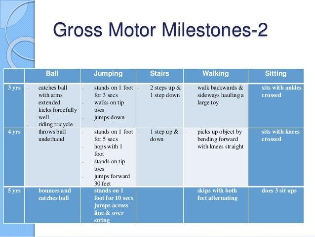 Gross motor milestones for Gross motor skills milestones