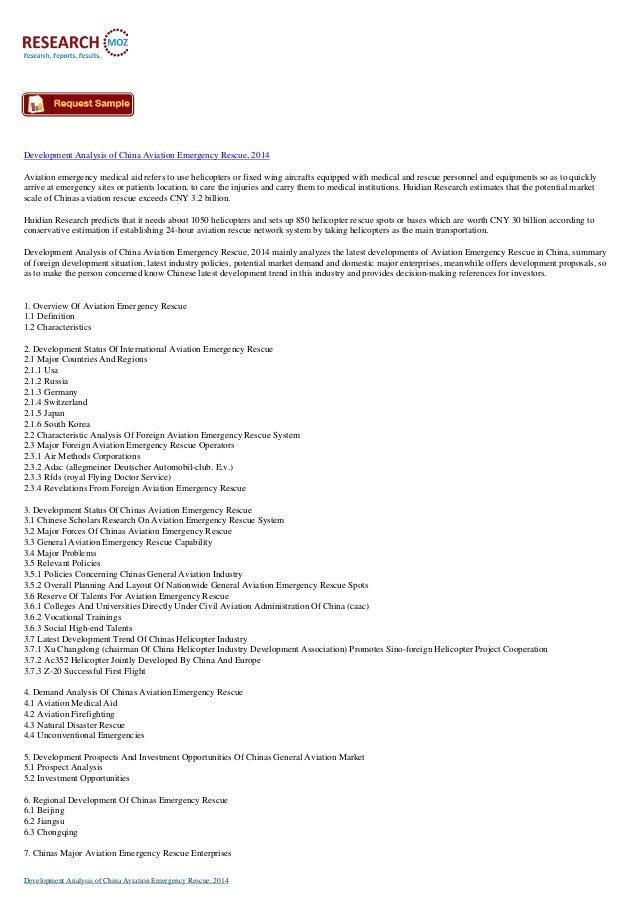 Development Analysis of China Aviation Emergency Rescue, 2014