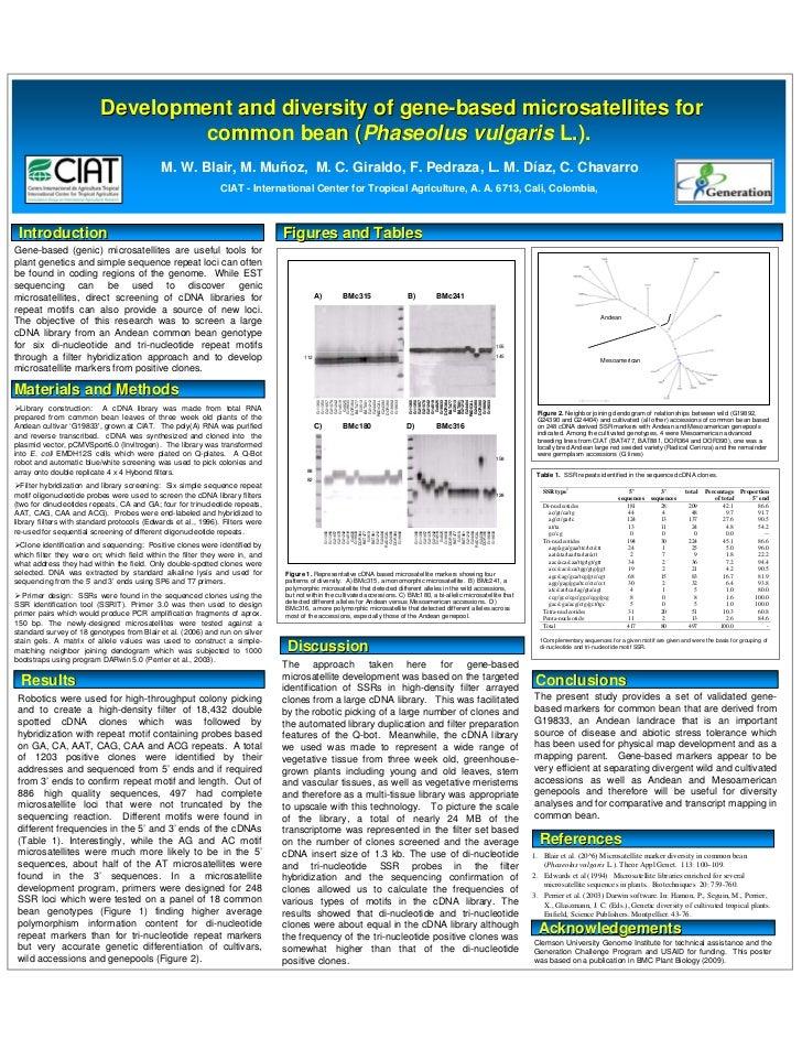 Poster7: Development and diversity of gene-based microsatellites for common bean (Phaseolus vulgaris L.)