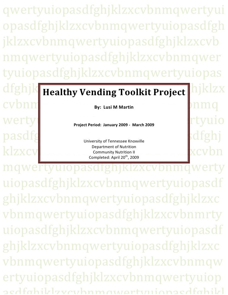 Development Of A Healthy Vending Toolkit Final Write Up