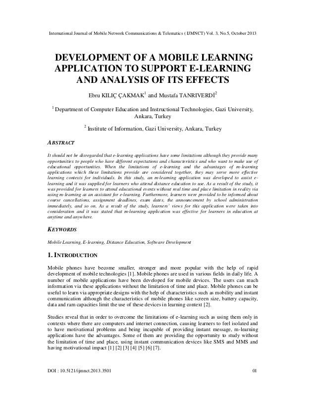 Development of a mobile learning application to support e learning and analysis of its effects