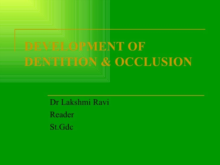 DEVELOPMENT OF DENTITION & OCCLUSION Dr Lakshmi Ravi Reader St.Gdc