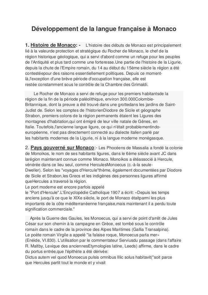 Développement de la langue française à Monaco1. Histoire de Monaco: -            Lhistoire des débuts de Monaco est princi...