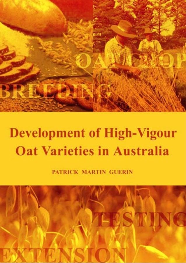 Development of High-Vigour Oat Varieties in Australia