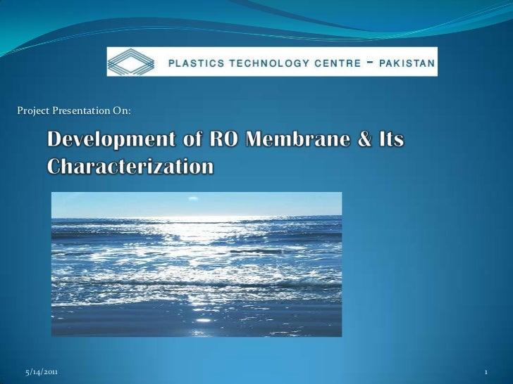 Development Of Ro Membrane & Its Characterization