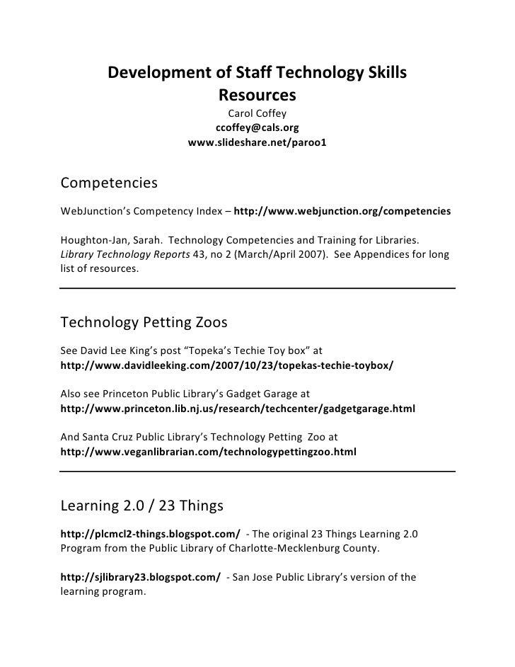 Development Of Staff Technology Skills Resources List