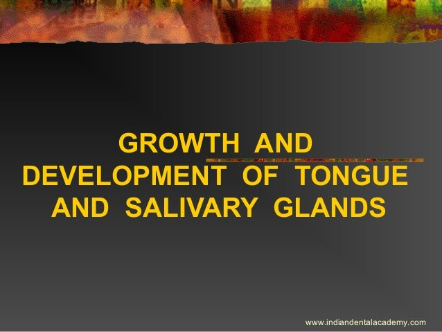 GROWTH AND DEVELOPMENT OF TONGUE AND SALIVARY GLANDS  www.indiandentalacademy.com