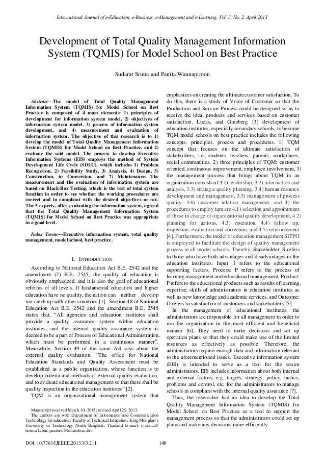 thesis paper tqm