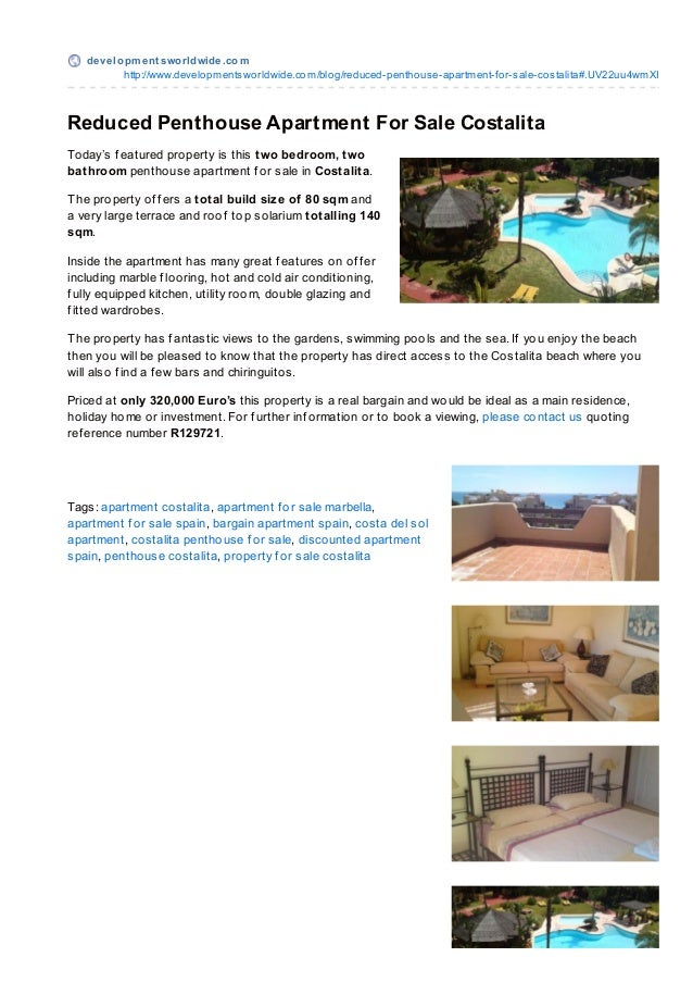 Reduced Penthouse For Sale In Costalita Costa del Sol