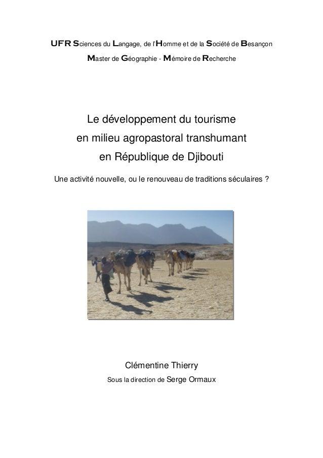 UFR Sciences du Langage, de l'Homme et de la Société de Besançon Master de Géographie - Mémoire de Recherche Le développem...